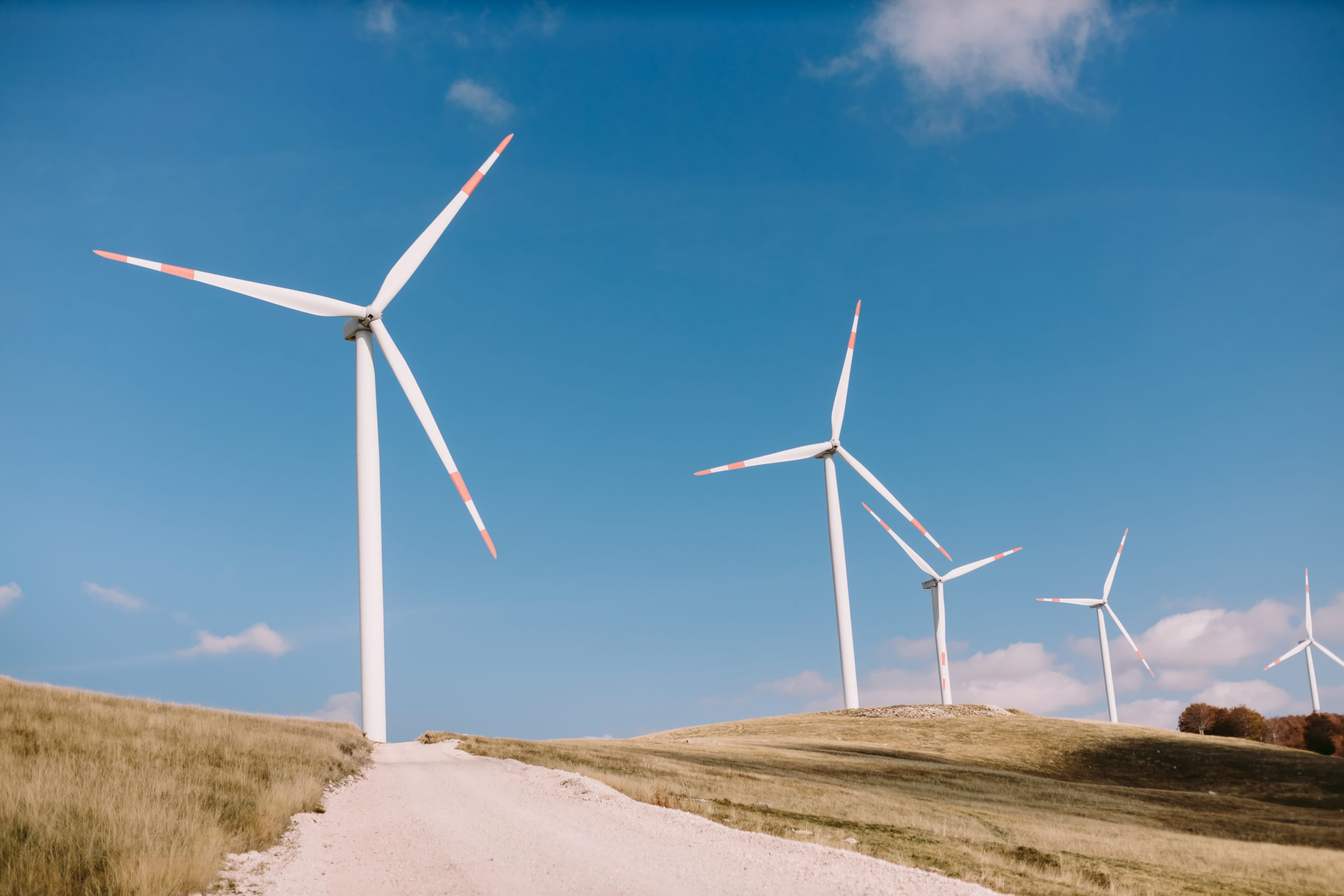 wind turbine farm. Wind power station with a group of wind turbines onshore in a beautiful scenery.